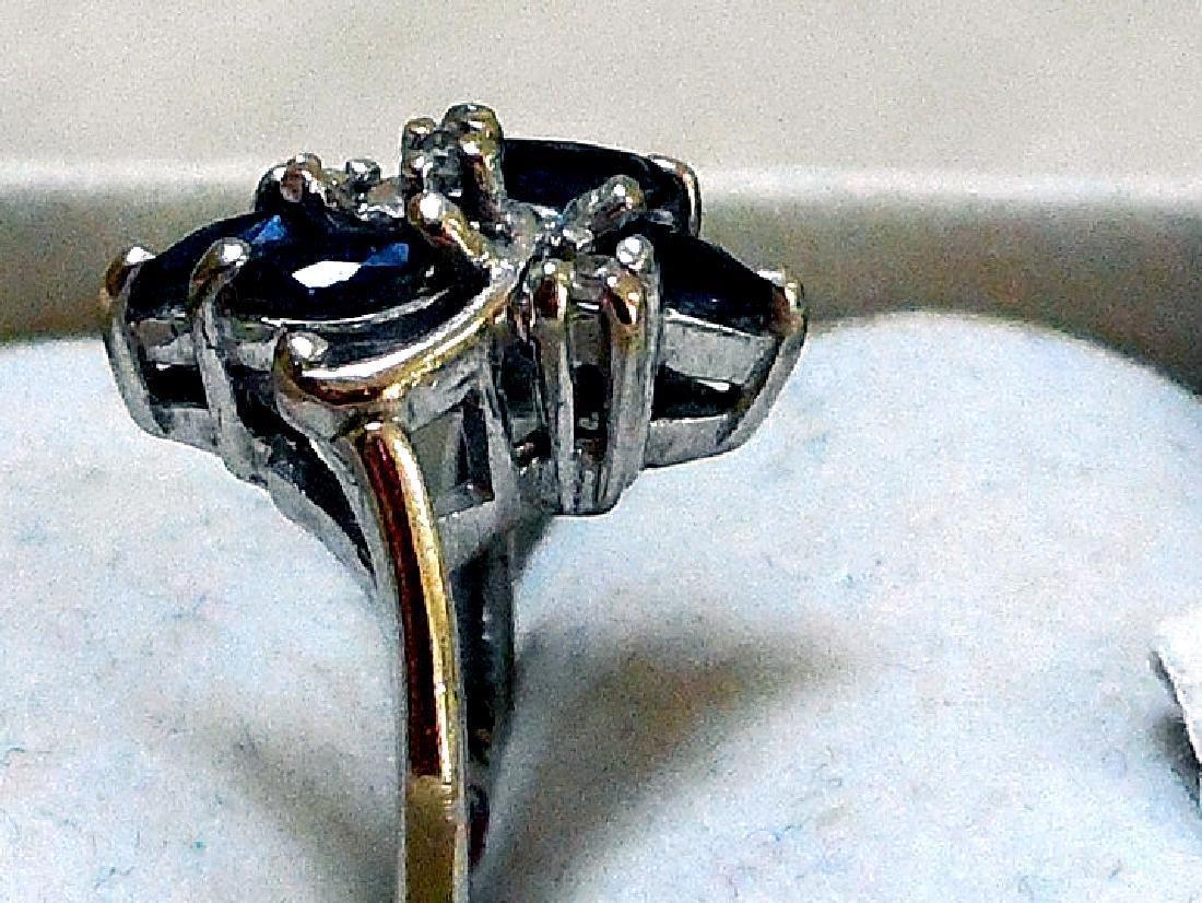 Vintage 14K Gold Sapphire Diamond Ring - 3