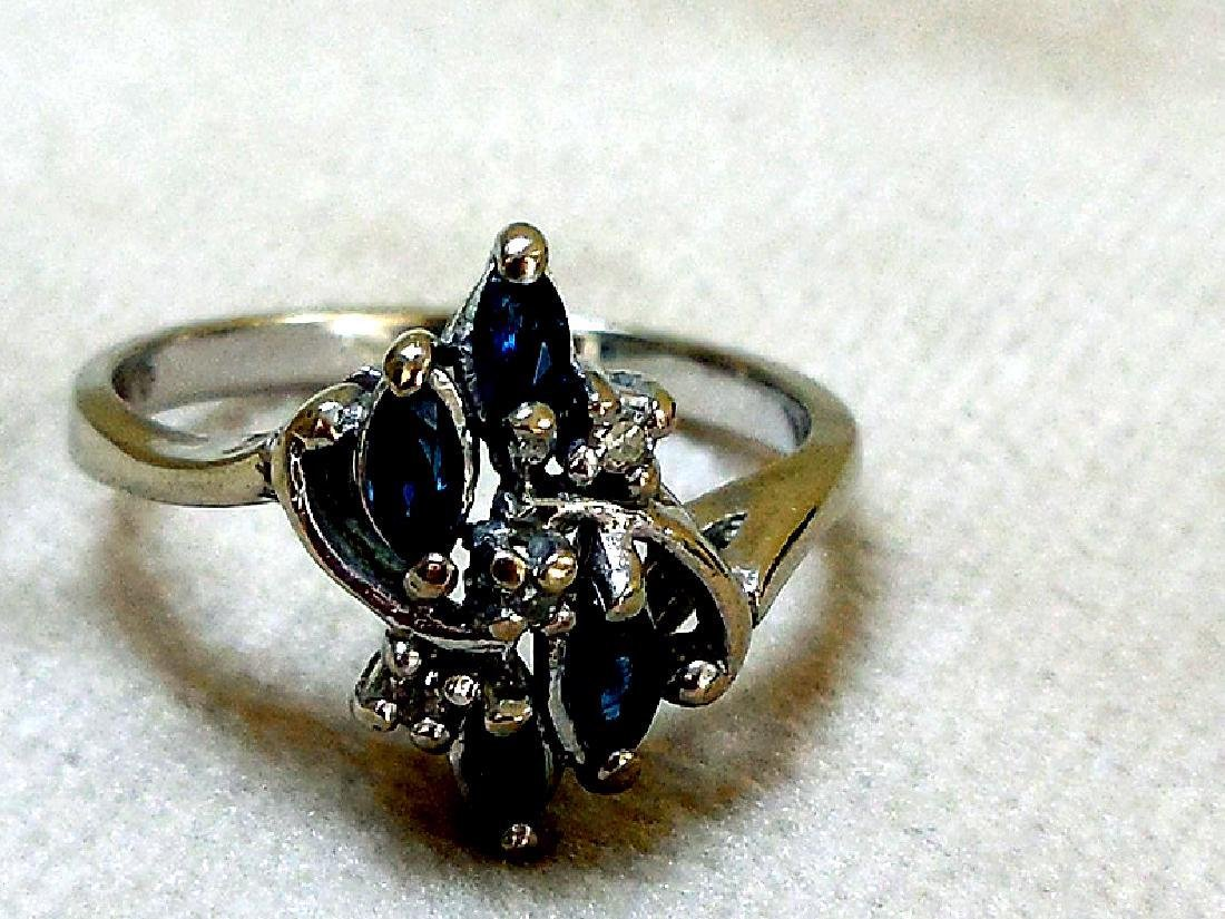 Vintage 14K Gold Sapphire Diamond Ring - 4