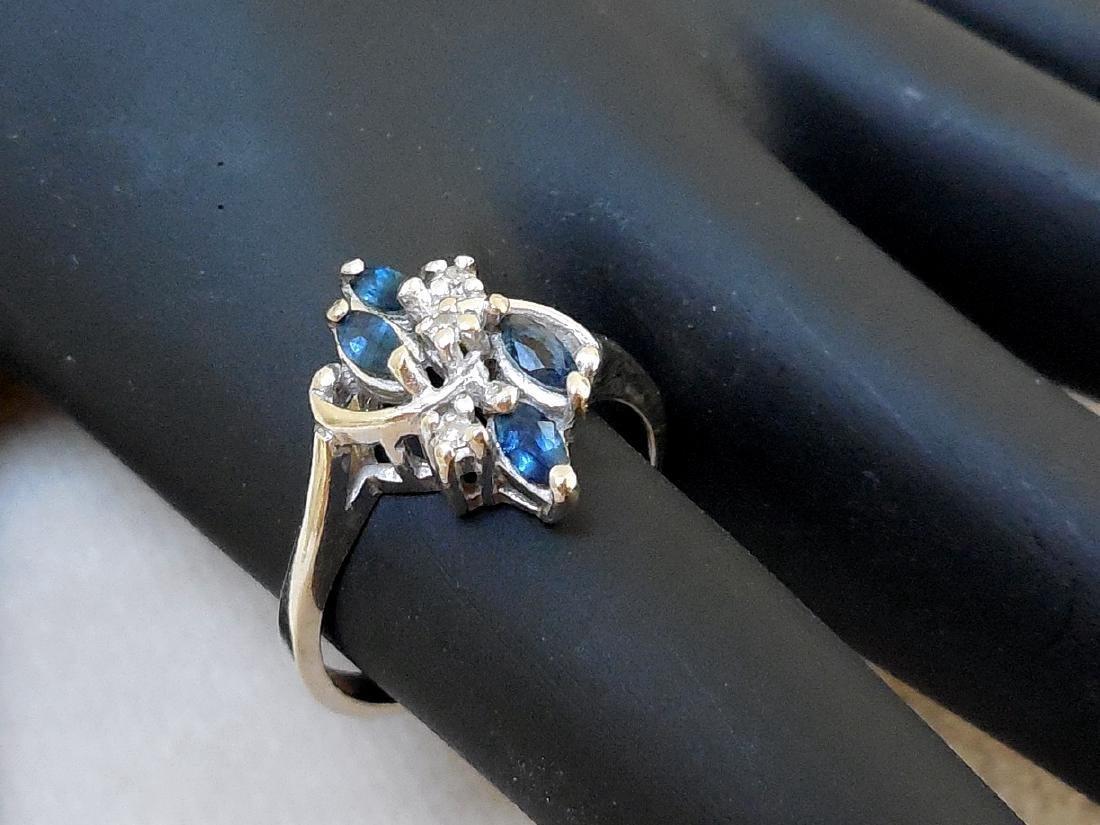 Vintage 14K Gold Sapphire Diamond Ring - 8