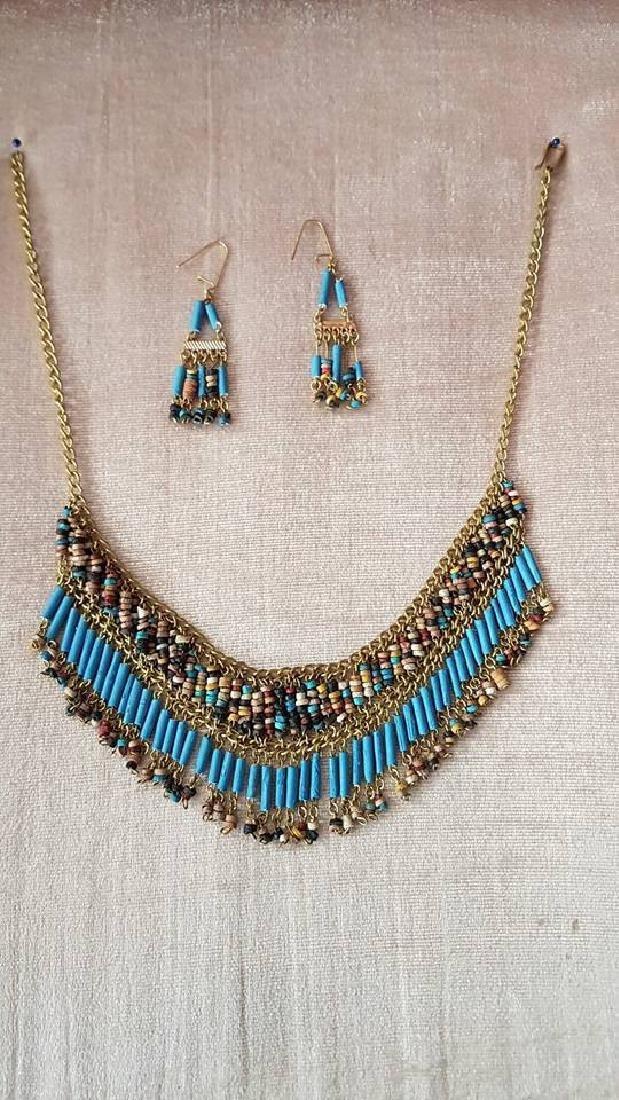 Egyptian Golden Gemstones Necklace & Earrings