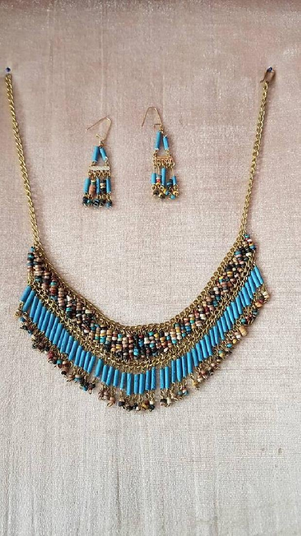 Egyptian Golden Gemstones Necklace & Earrings