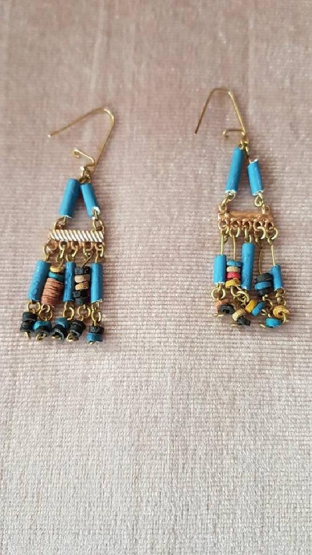 Egyptian Golden Gemstones Necklace & Earrings - 2