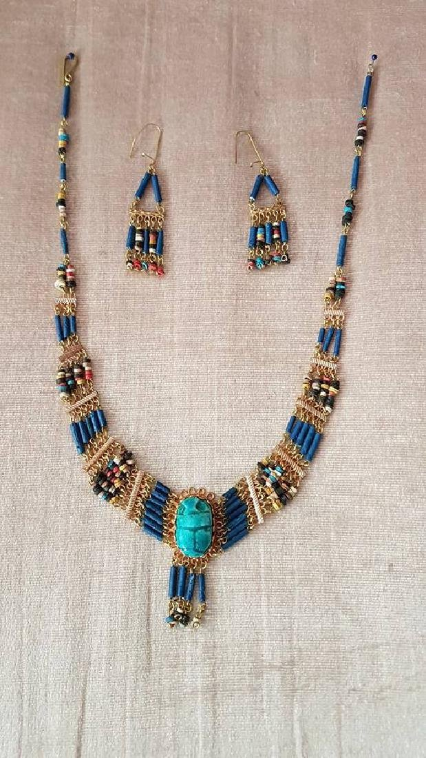 Egyptian Handmade Turquoise Necklace & Earrings