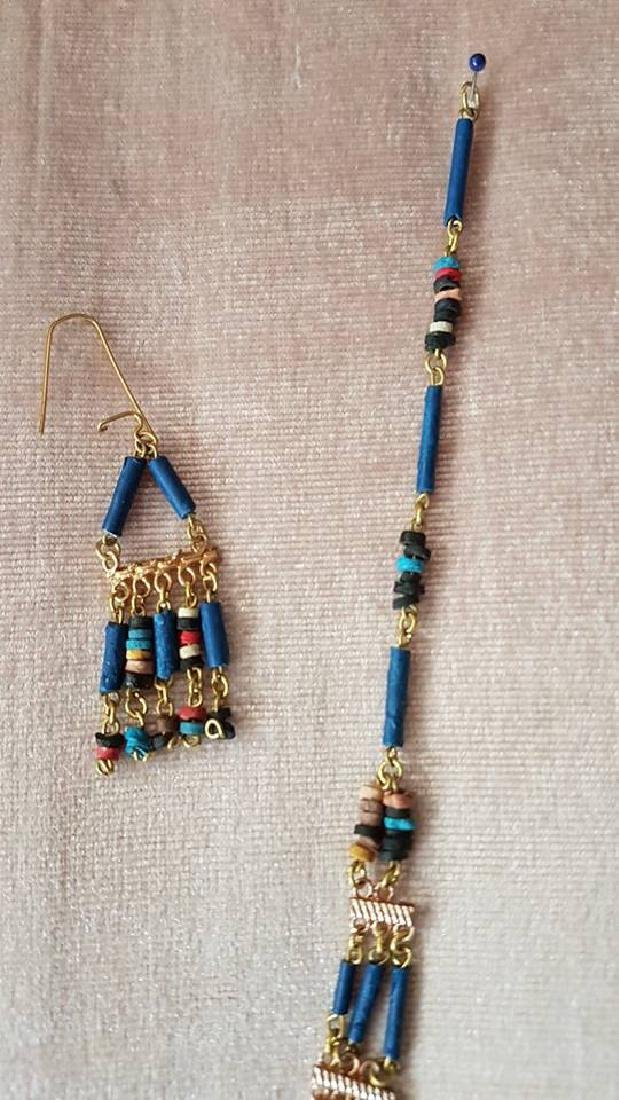 Egyptian Handmade Turquoise Necklace & Earrings - 3