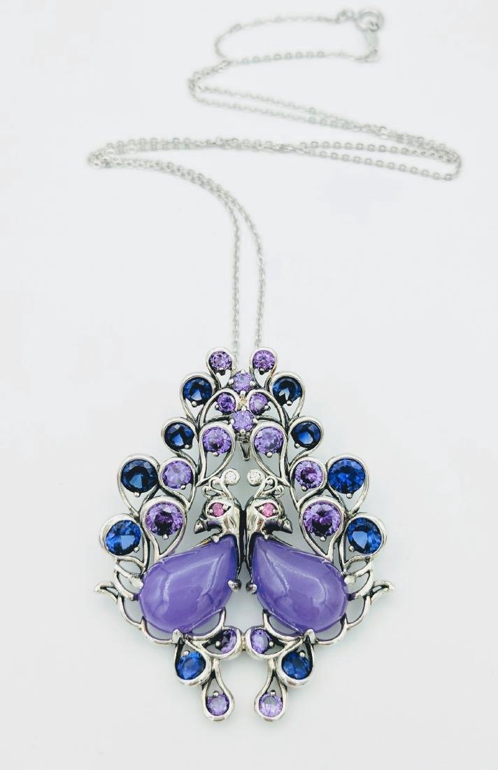 Sterling Silver Jadeite Sapphire Amethyst Necklace