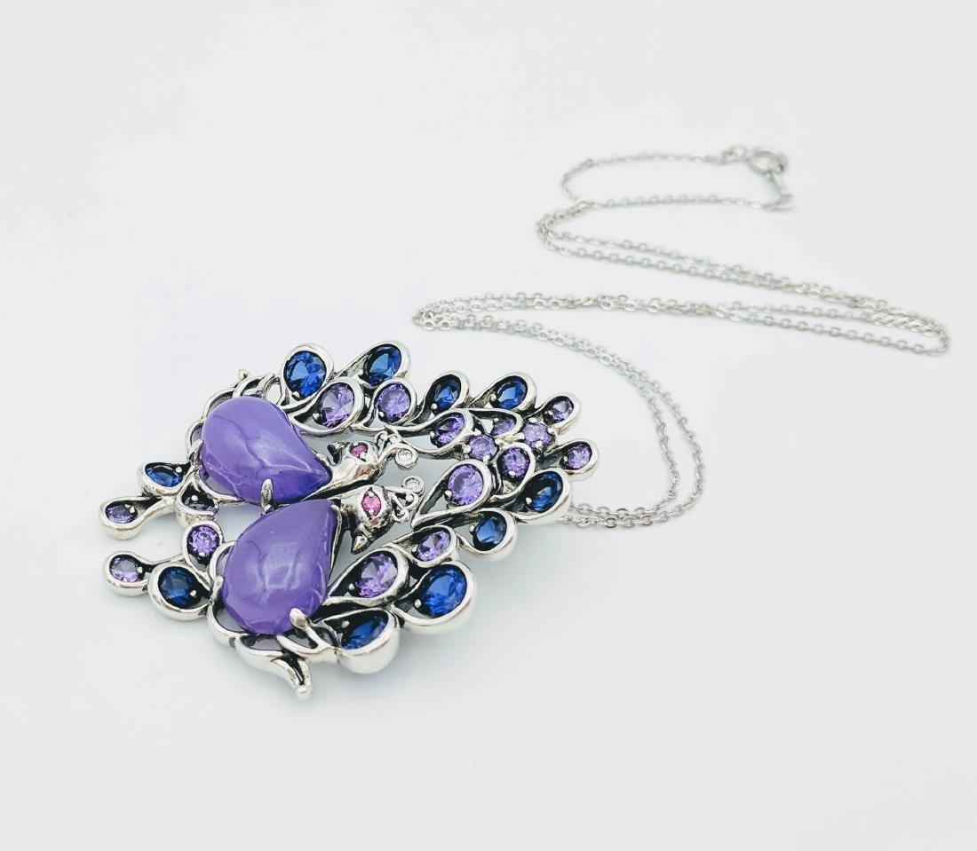 Sterling Silver Jadeite Sapphire Amethyst Necklace - 2