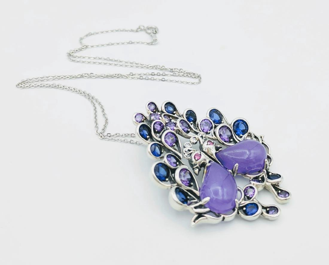 Sterling Silver Jadeite Sapphire Amethyst Necklace - 3
