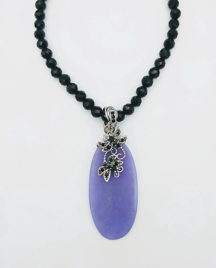 Sterling Silver Jadeite Black Onyx CZ Necklace - 5