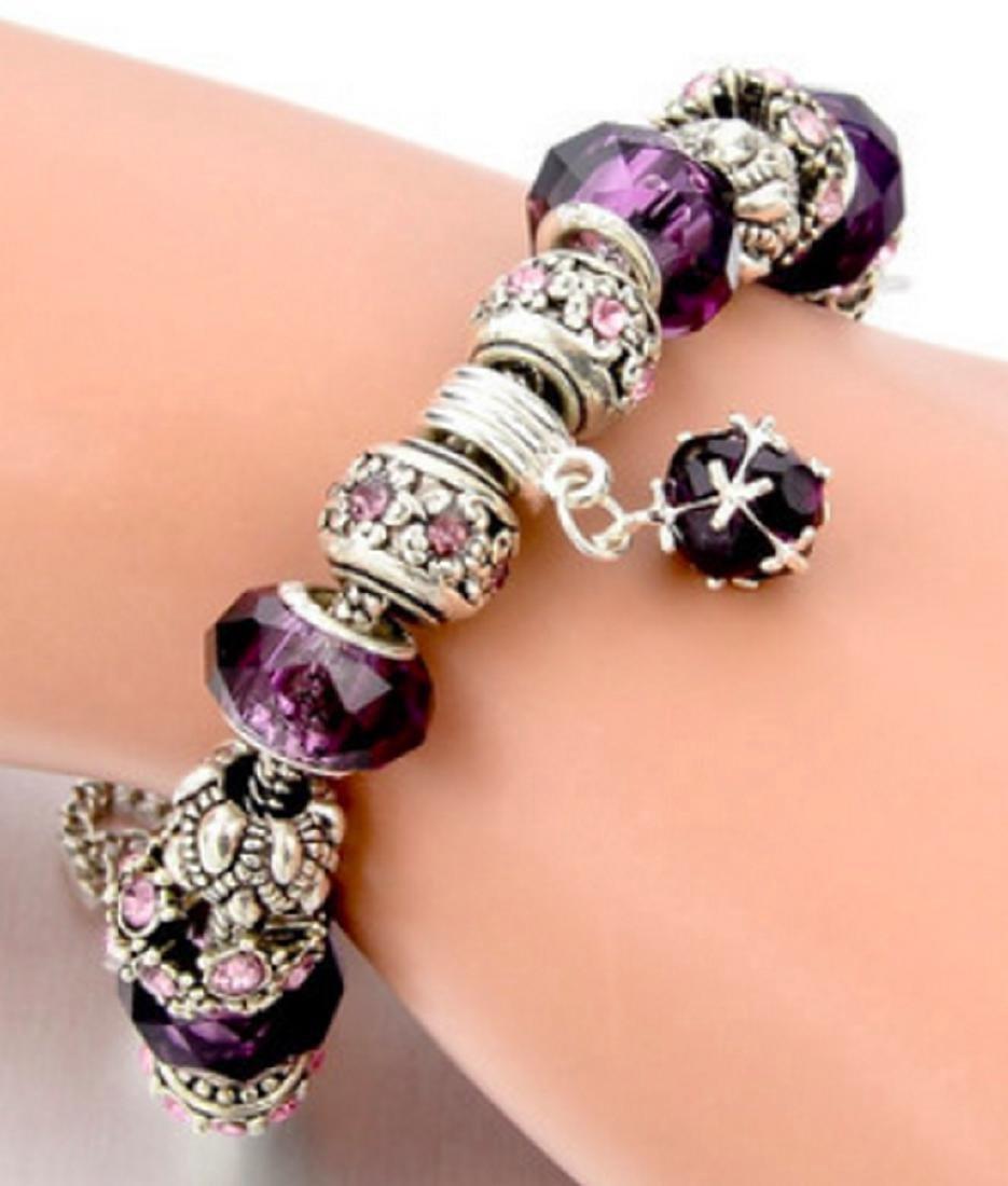 Silver Plated Purple Pandora Style Charm Bracelet