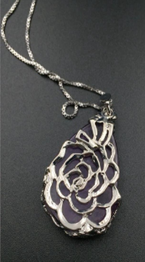 Sterling Silver Natural Amethyst Pendant Necklace - 2