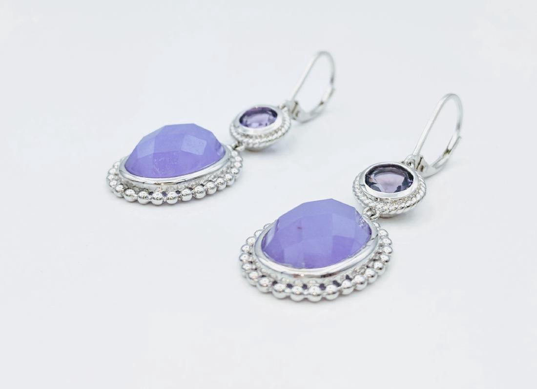 Sterling Silver Jadeite Amethyst Earrings 1.68ctw