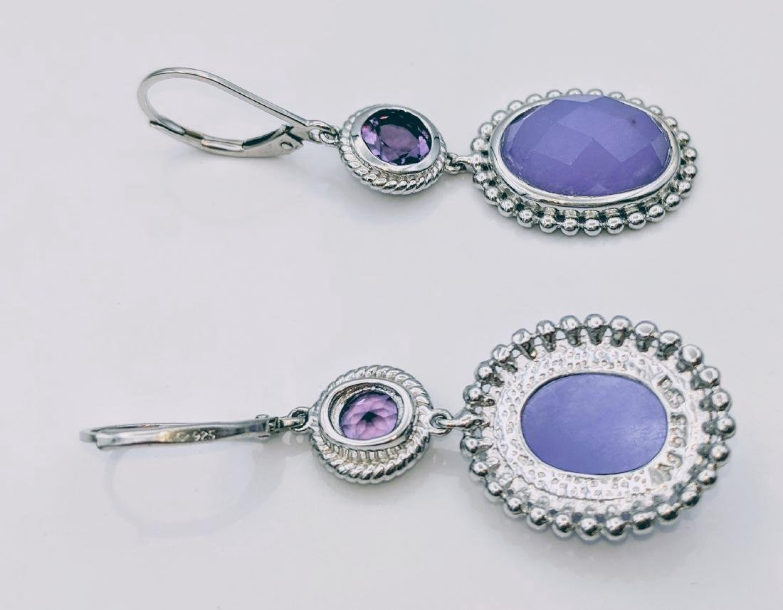 Sterling Silver Jadeite Amethyst Earrings 1.68ctw - 3