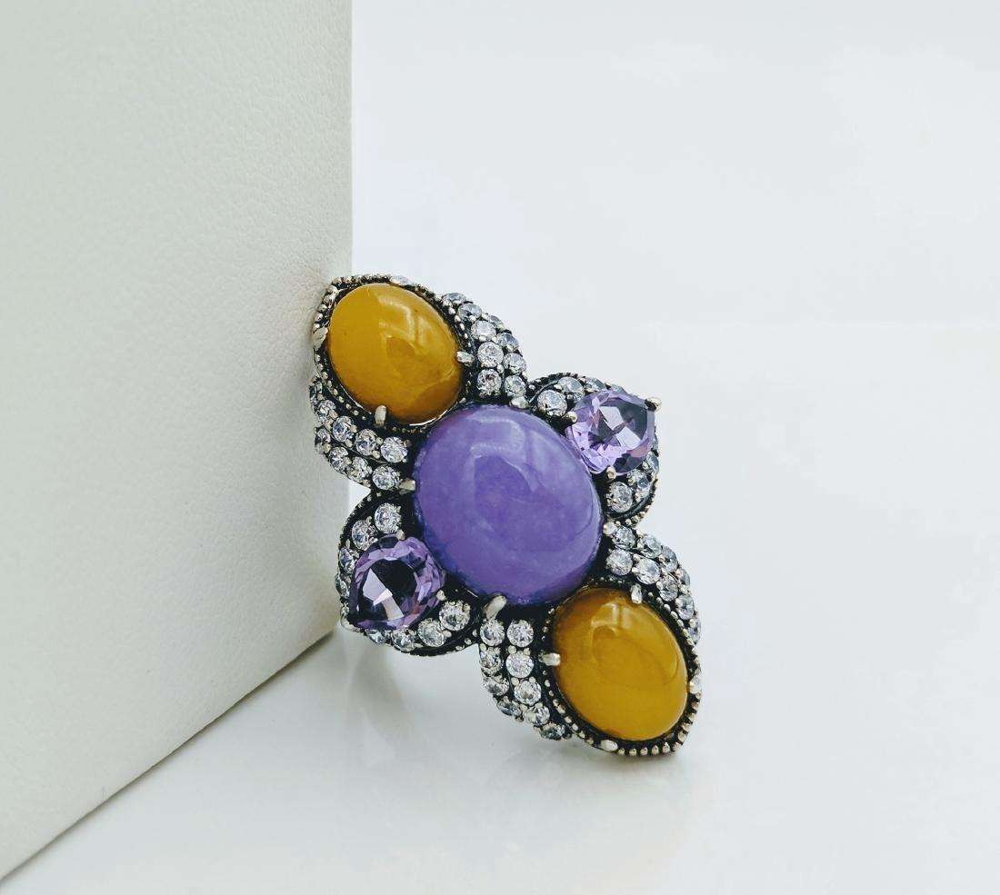 Sterling Silver Lilac Jade Amethyst CZ Ring