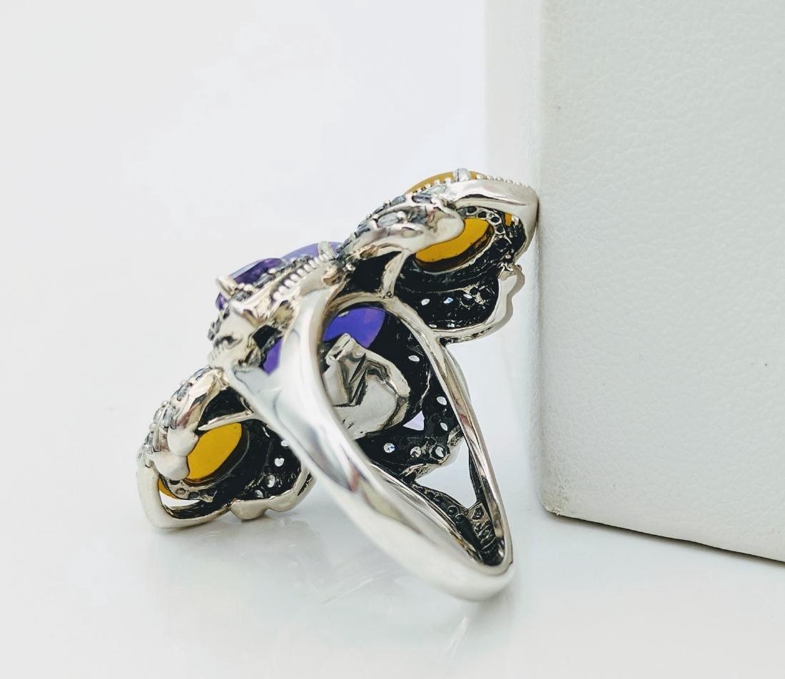 Sterling Silver Lilac Jade Amethyst CZ Ring - 2