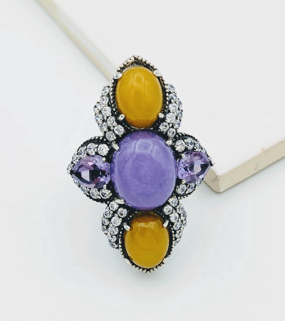 Sterling Silver Lilac Jade Amethyst CZ Ring - 3