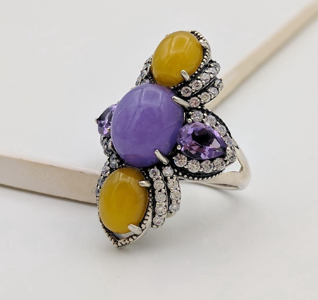 Sterling Silver Lilac Jade Amethyst CZ Ring - 4