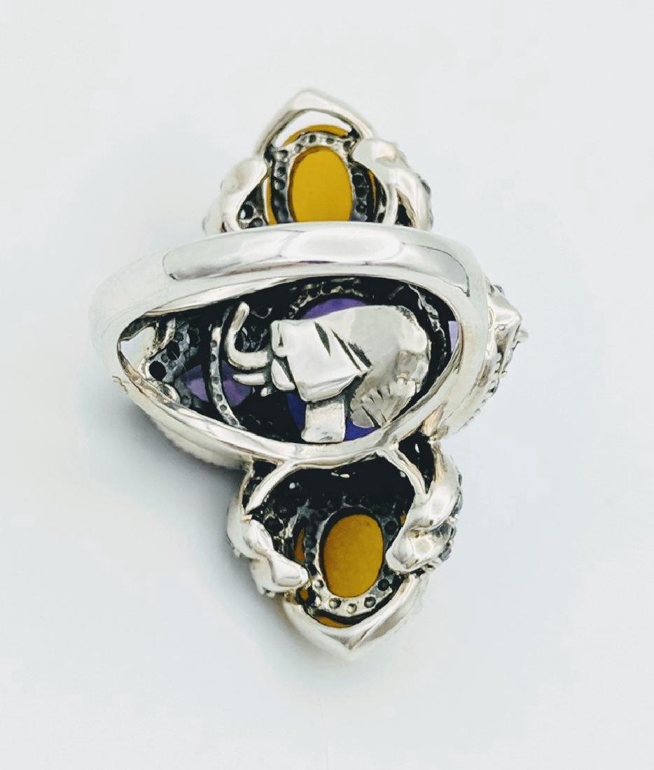 Sterling Silver Lilac Jade Amethyst CZ Ring - 5