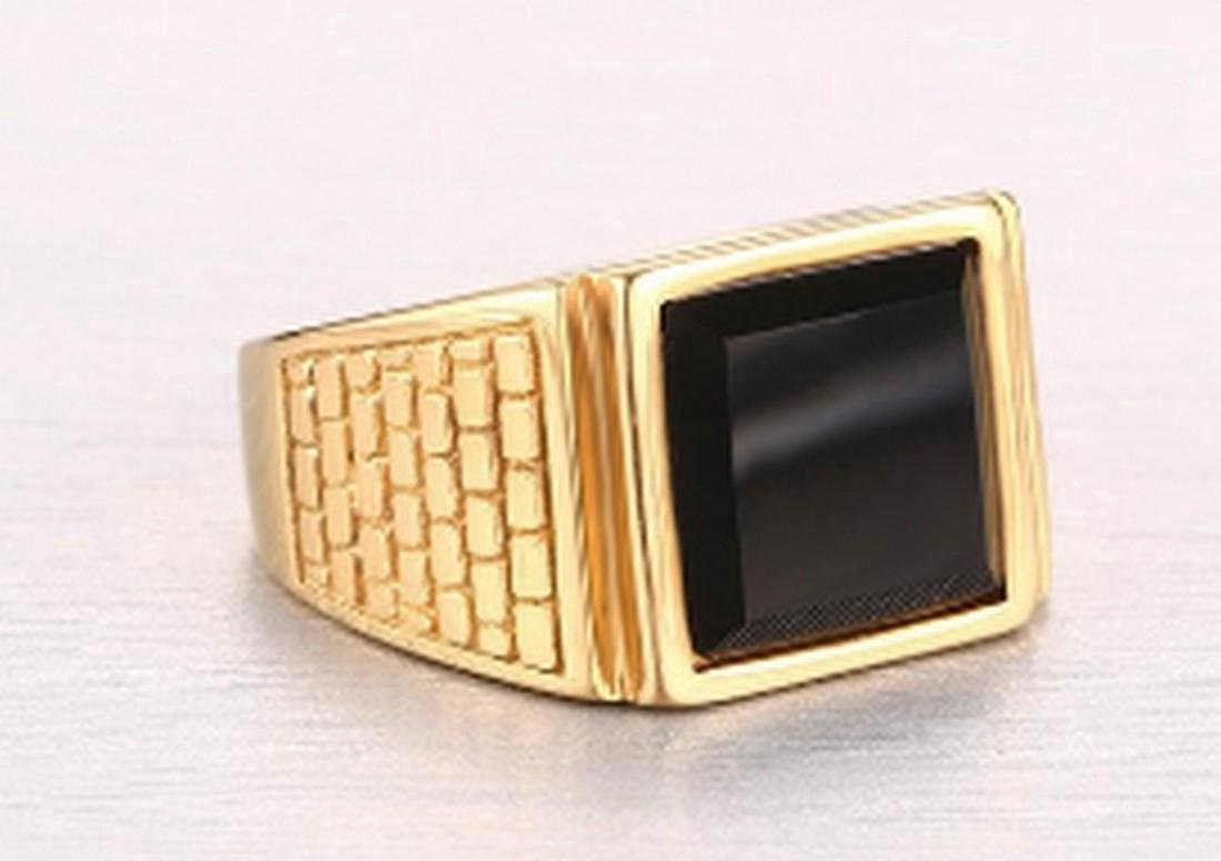 18K Gold Filled Titanium Agate Men's Ring - 2
