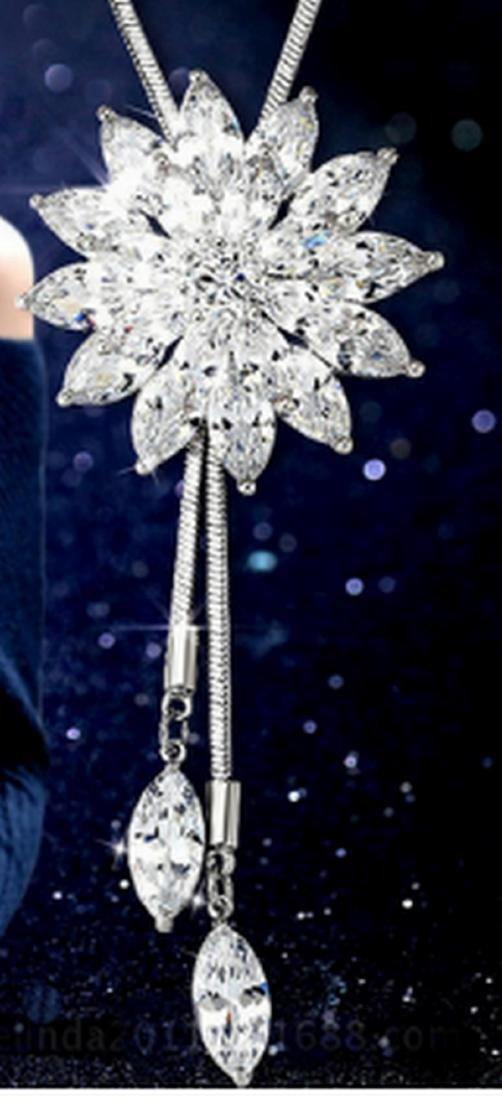 18K White Gold Plated Swarovski Crystal Flower Necklace - 3