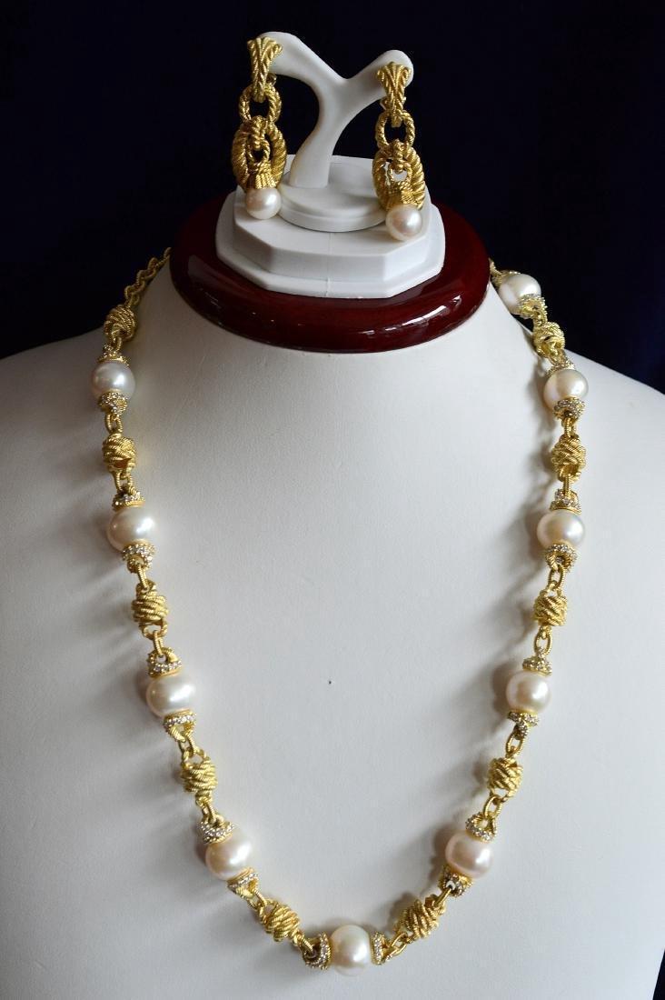 Judith Ripka Gold Clad Sterling Pearl CZ Jewelry Set