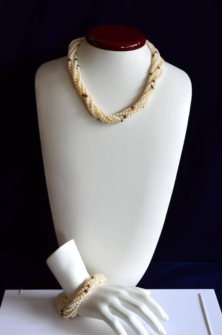 14K Gold Multi-Strand Pearl Necklace & Bracelet Set