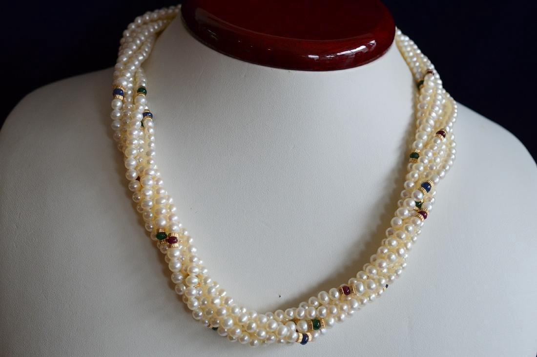 14K Gold Multi-Strand Pearl Necklace & Bracelet Set - 2