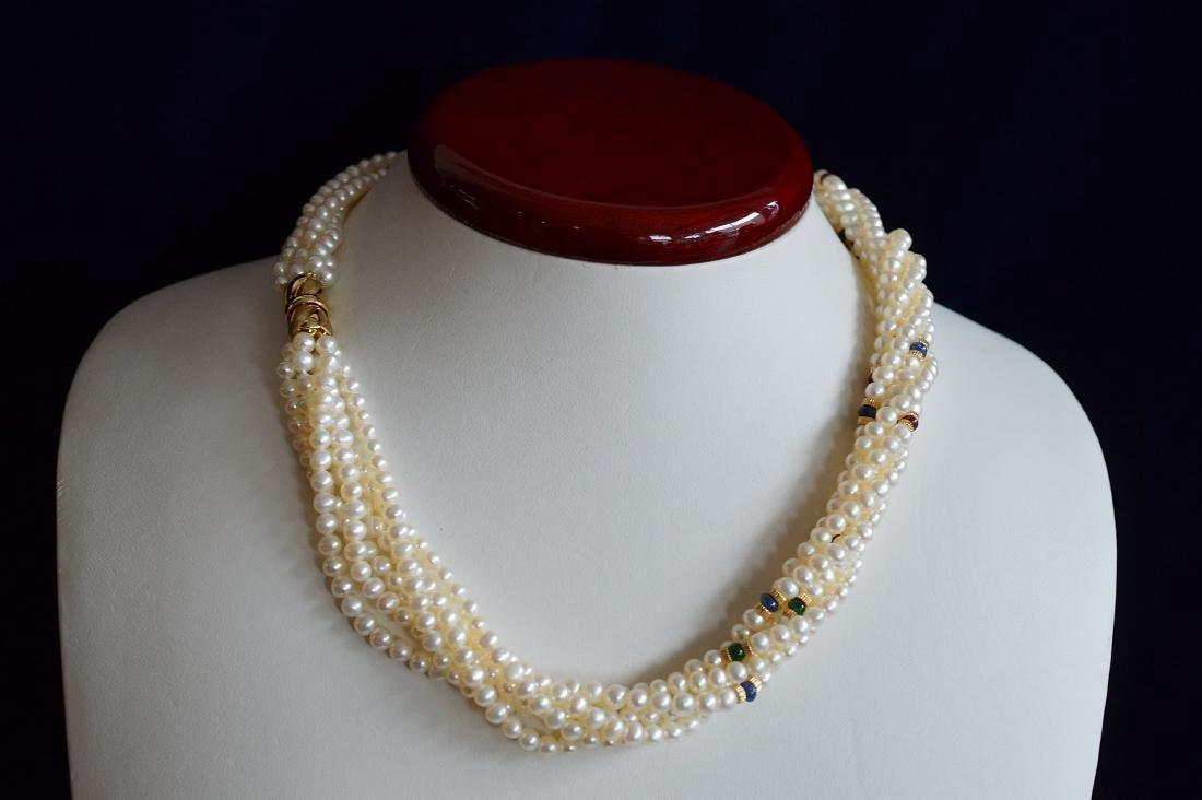14K Gold Multi-Strand Pearl Necklace & Bracelet Set - 3