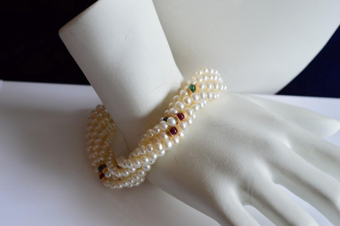 14K Gold Multi-Strand Pearl Necklace & Bracelet Set - 4