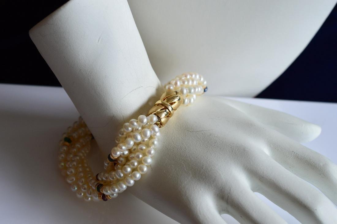 14K Gold Multi-Strand Pearl Necklace & Bracelet Set - 5