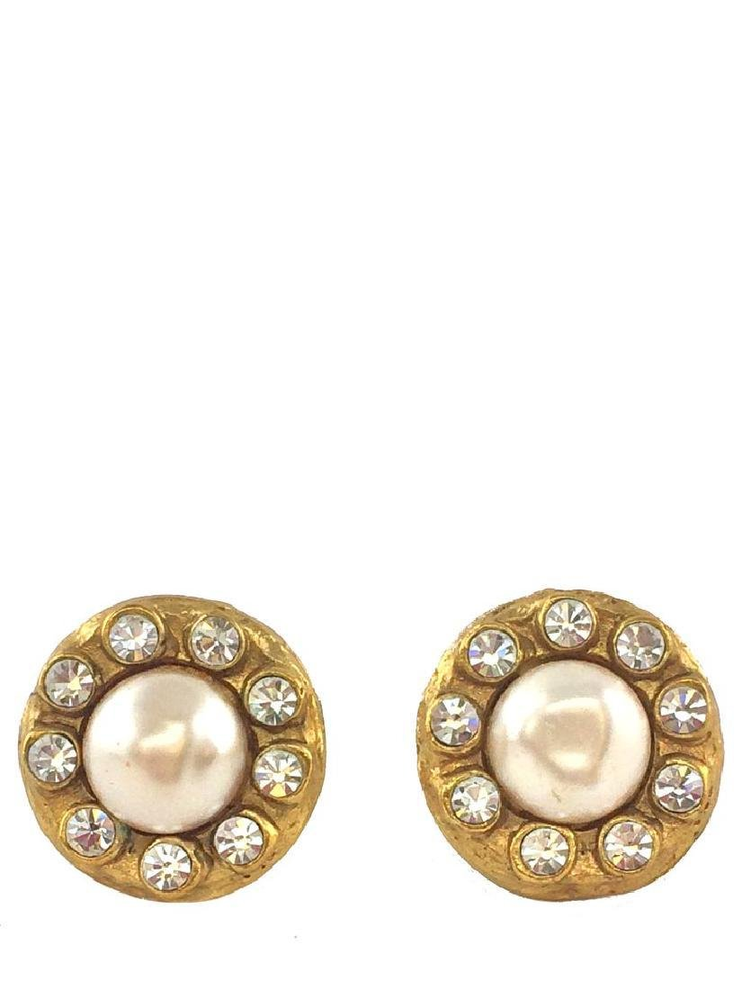 Vintage Chanel Faux Pearl & Crystal Clip-On Earrings