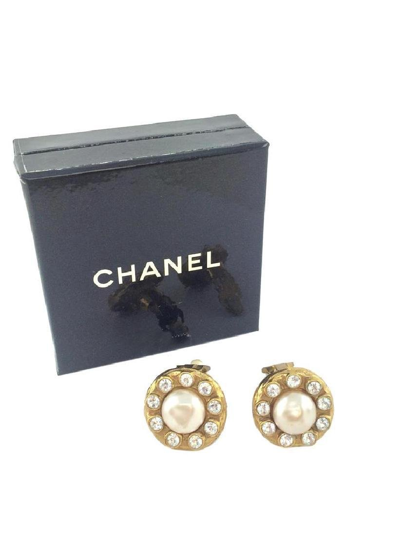 Vintage Chanel Faux Pearl & Crystal Clip-On Earrings - 2