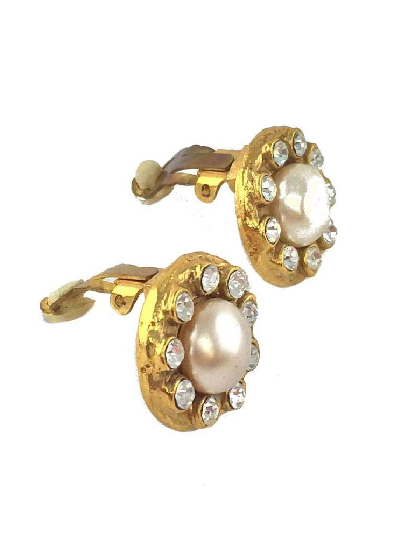 Vintage Chanel Faux Pearl & Crystal Clip-On Earrings - 3