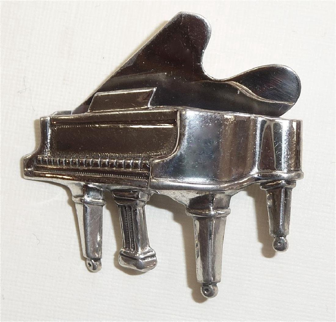 Mid-Century Beau Sterling Silver Grand Piano Pin - 3