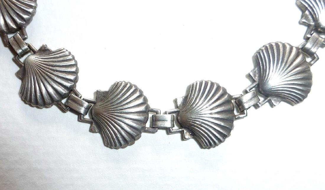 Vintage Sterling Silver Figural Shells Bracelet - 3