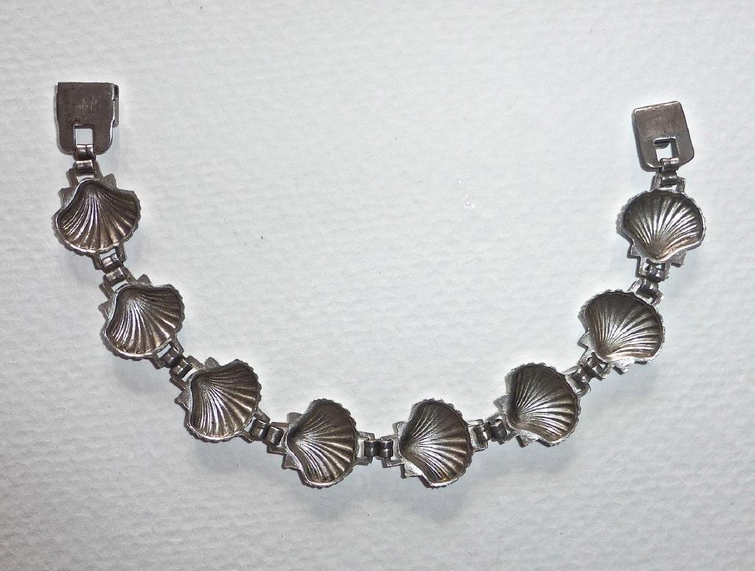 Vintage Sterling Silver Figural Shells Bracelet - 4