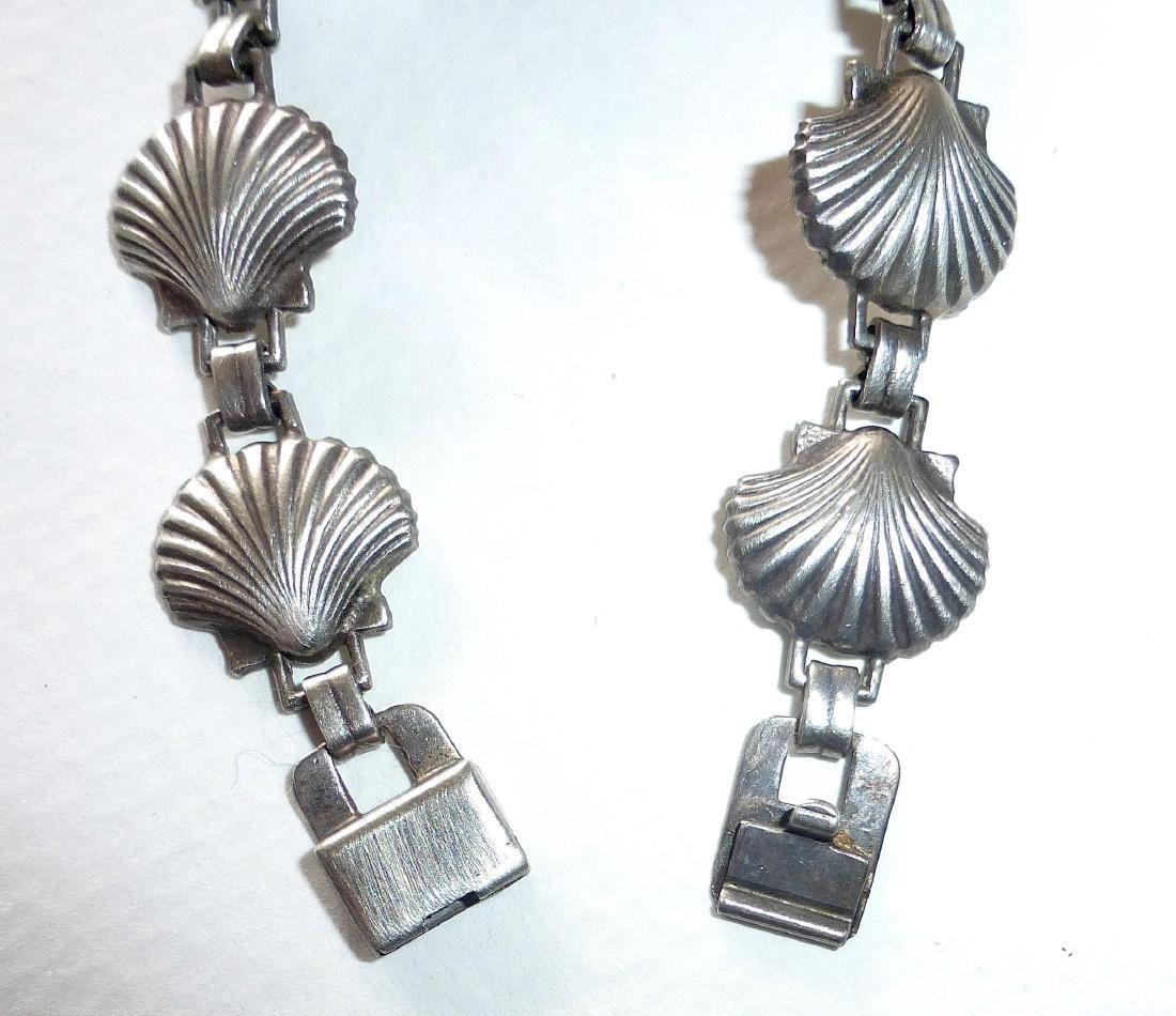 Vintage Sterling Silver Figural Shells Bracelet - 5