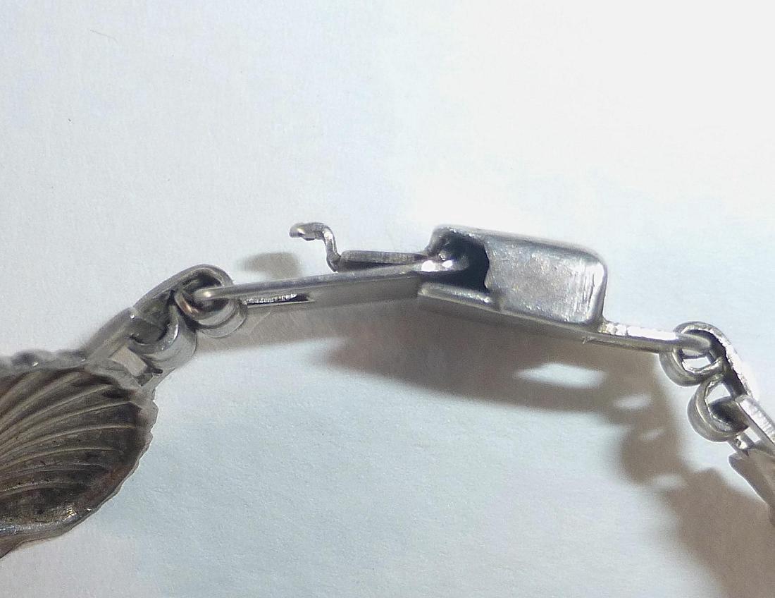 Vintage Sterling Silver Figural Shells Bracelet - 6