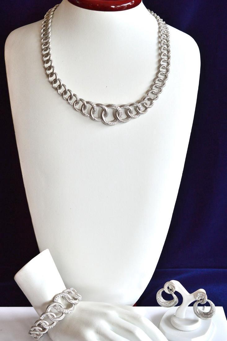 Graduated Sterling Silver Necklace Bracelet Earrings