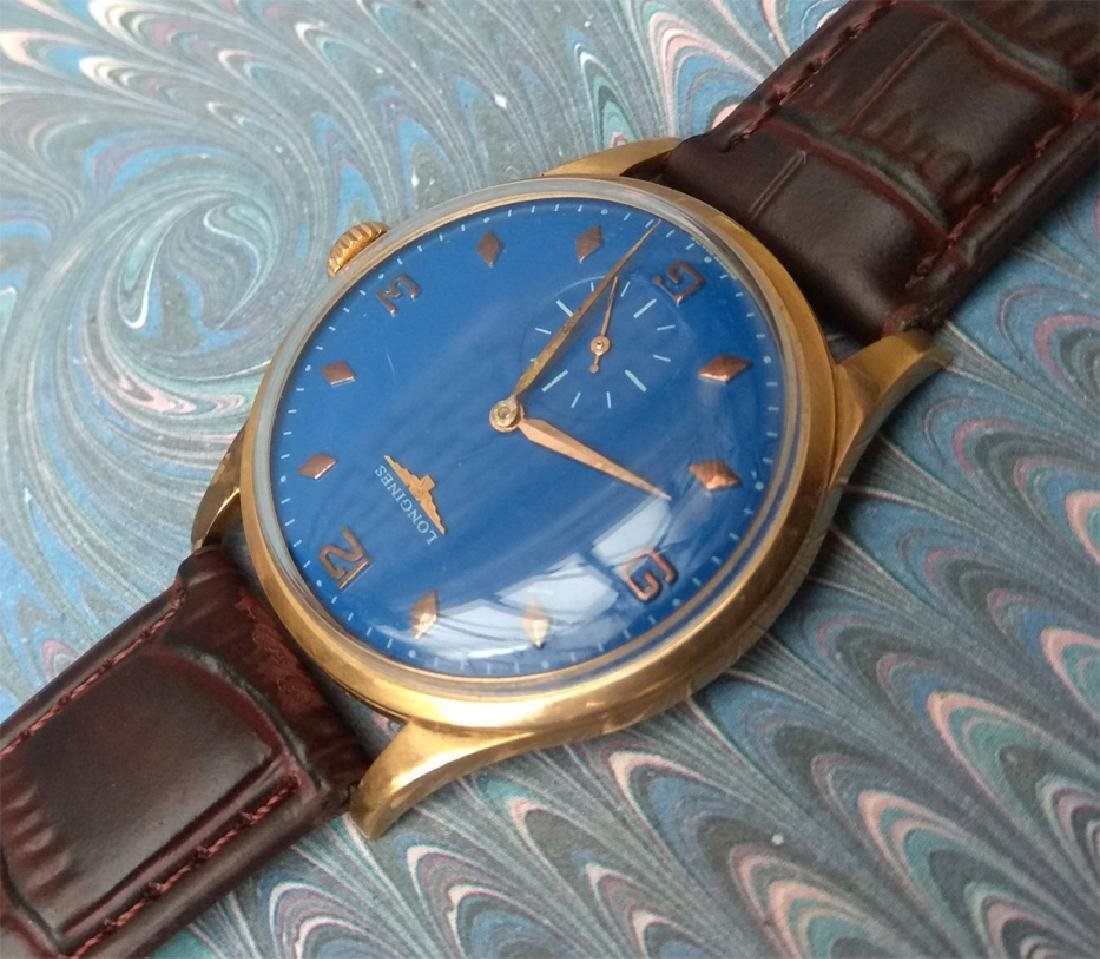 Vintage Longines 18K Solid Gold Blue Dial Manual Watch