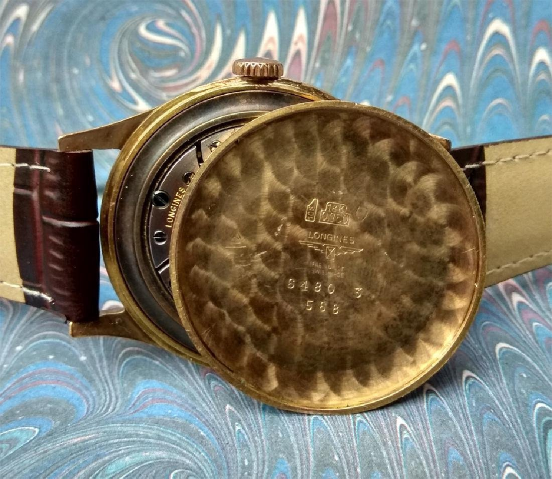 Vintage Longines 18K Solid Gold Blue Dial Manual Watch - 3