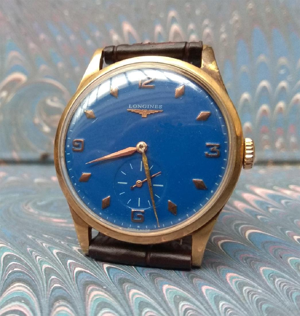Vintage Longines 18K Solid Gold Blue Dial Manual Watch - 4