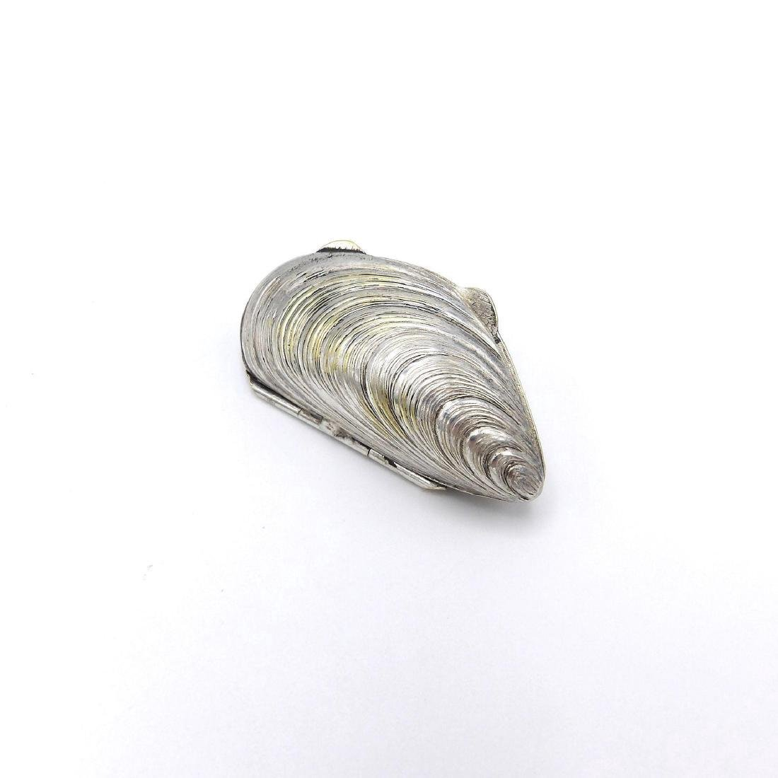 Vintage European Silver Plate Mussel Shell Pill Box