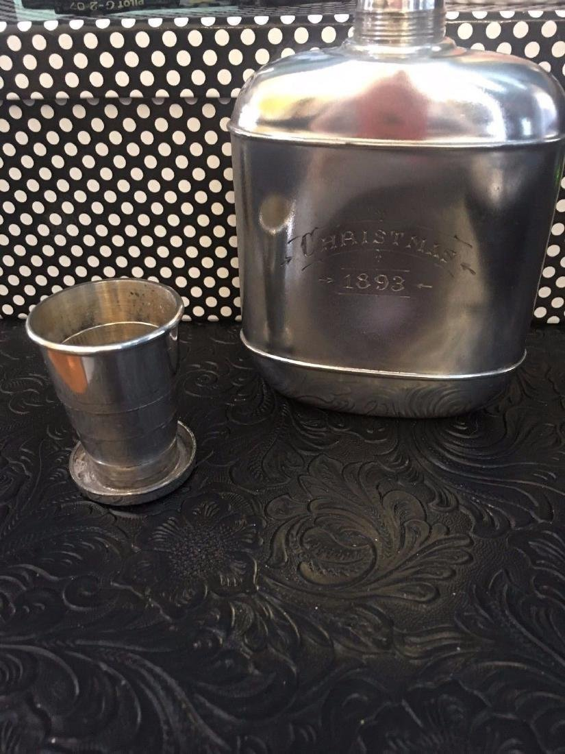 Antique Wilcox Victorian Silver Plate Flask, 1893 - 2
