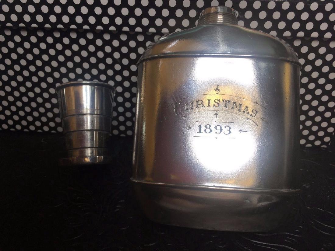 Antique Wilcox Victorian Silver Plate Flask, 1893 - 3