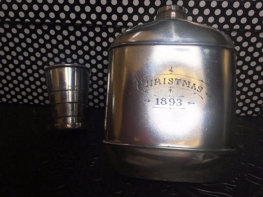 Antique Wilcox Victorian Silver Plate Flask, 1893 - 4