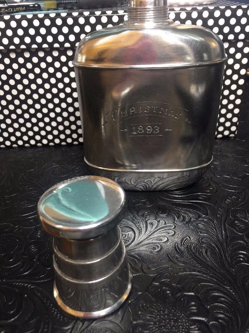 Antique Wilcox Victorian Silver Plate Flask, 1893 - 6
