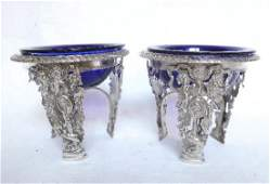 Pair Antique French Empire Sterling Silver Salt Cellars