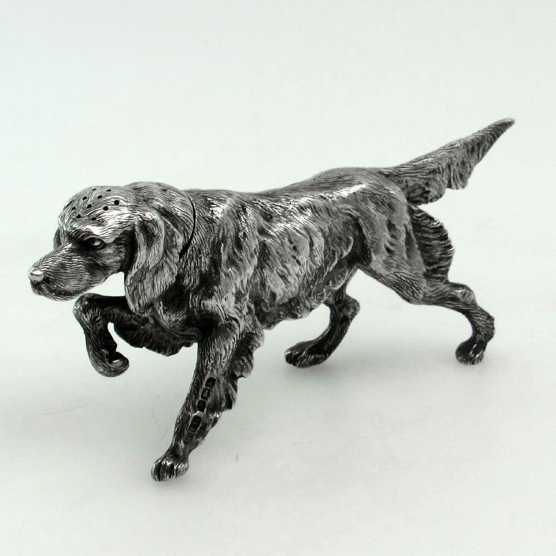 Sheffield Sterling Silver Figural Dog Salt Shaker
