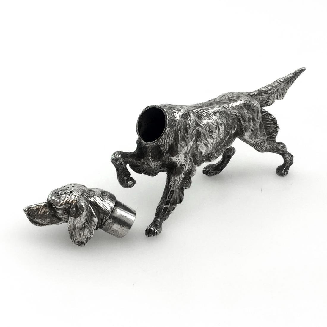 Sheffield Sterling Silver Figural Dog Salt Shaker - 8