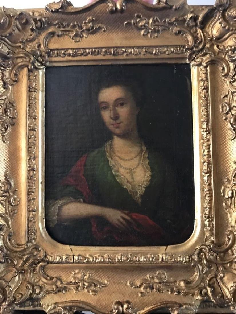 English 19th C Oil Painting Portrait